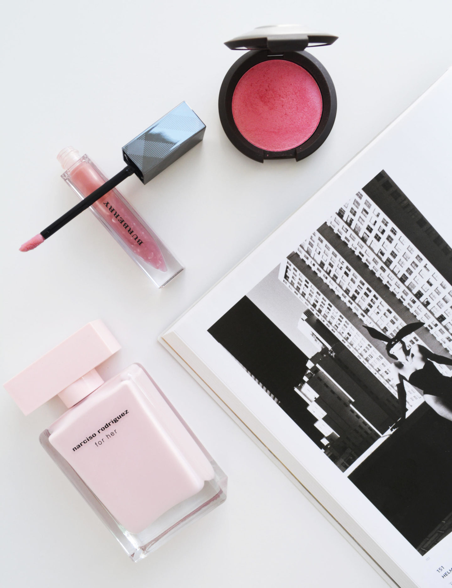 Becca Camelia, Burberry Lip Glow, Narciso Rodriguez for her