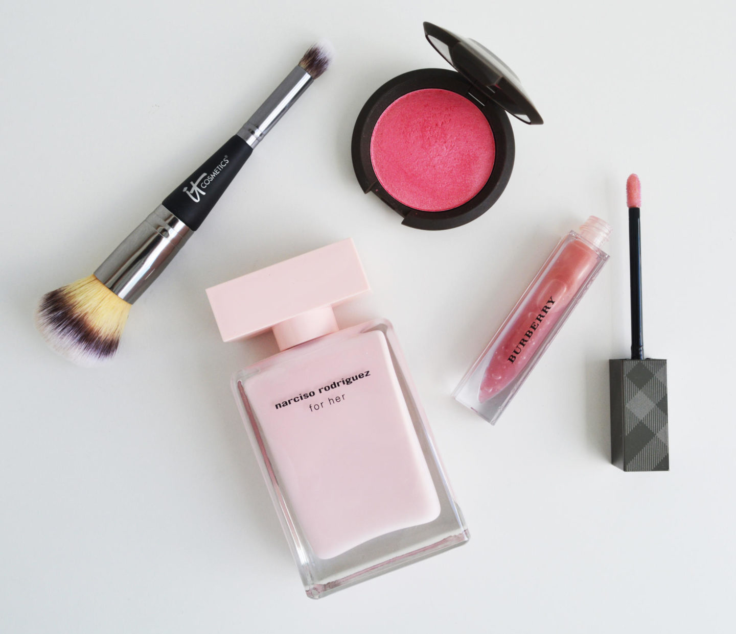 Narciso Rodriguez for her, Becca Camelia Blush, T Cosmetics Heavenly Luxe Complexion Perfection Brush #7
