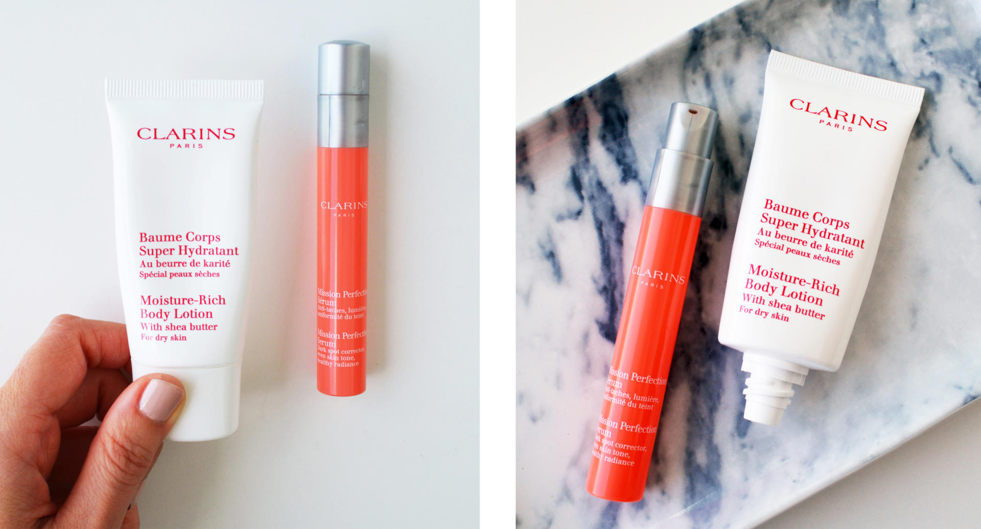 Clarins Mission Perfection Serum, Clarins Moisture-Rich Body Lotion