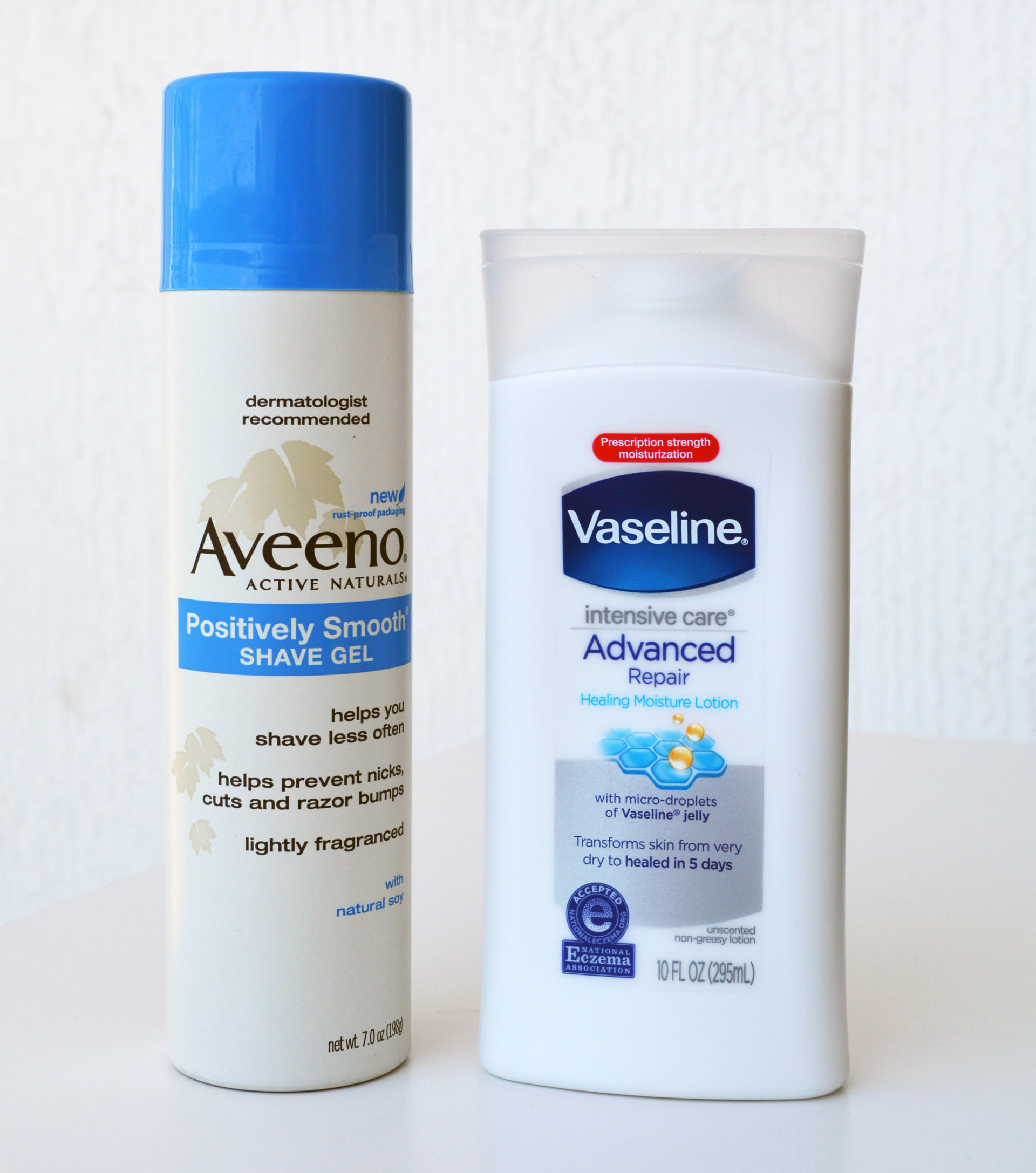 Aveeno Positively Smooth Moisturizing Shave Gel, Vaseline Intensive Care Advanced Repair Healing Moisture Lotion